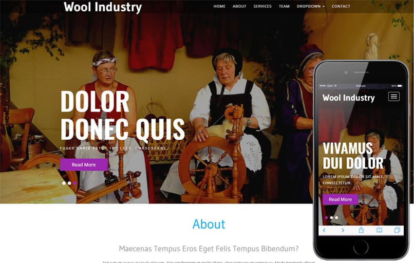 Wool Industry an Industrial Category Bootstrap Responsive Web Template Mobile website template Free