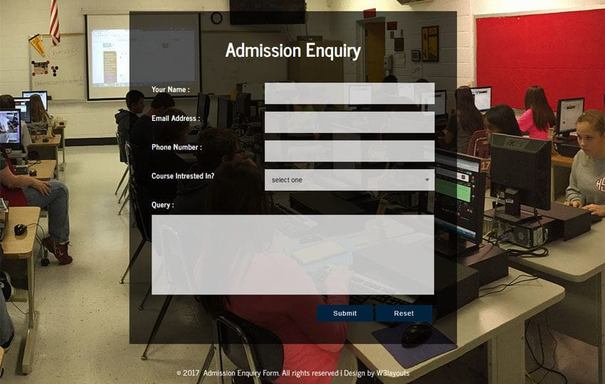 Admission Enquiry Form a Flat Responsive Widget Template Mobile website template Free