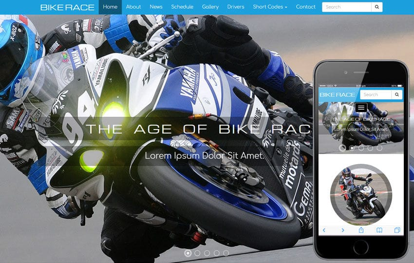 Bike Race a Sports Category Flat Bootstrap Responsive Web Template Mobile website template Free