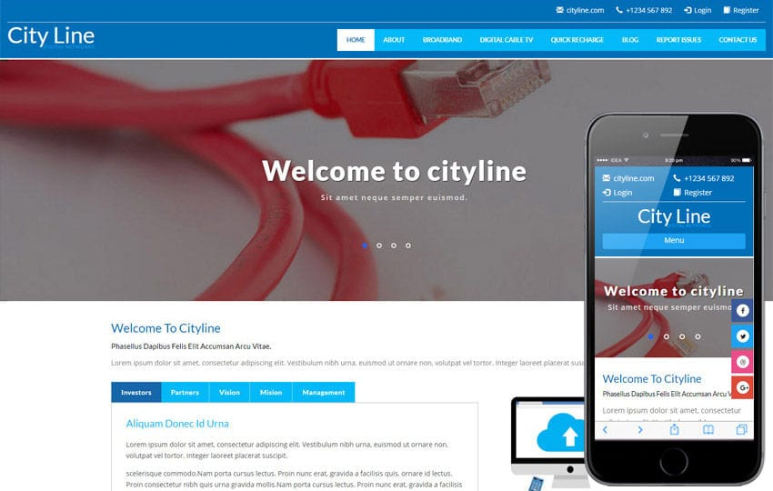 City Line a Corporate Category Bootstrap Responsive Web Template Mobile website template Free