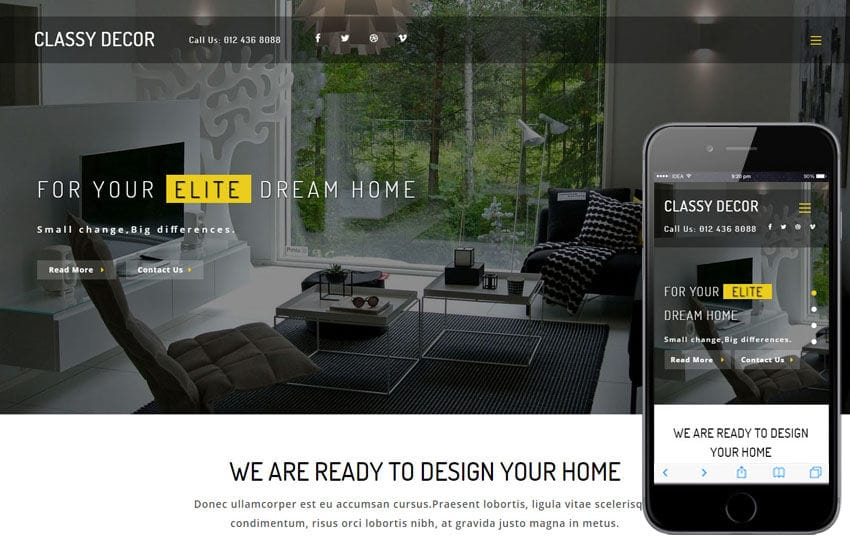 Classy Décor an Interior Category Bootstrap Responsive Web Template Mobile website template Free