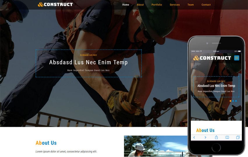 Construct an Industrial Category Bootstrap Responsive Web Template Mobile website template Free
