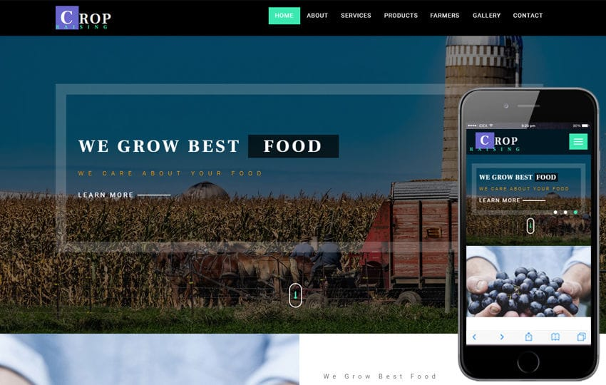 Crop Raising an Agriculture Category Bootstrap Responsive Web Template Mobile website template Free