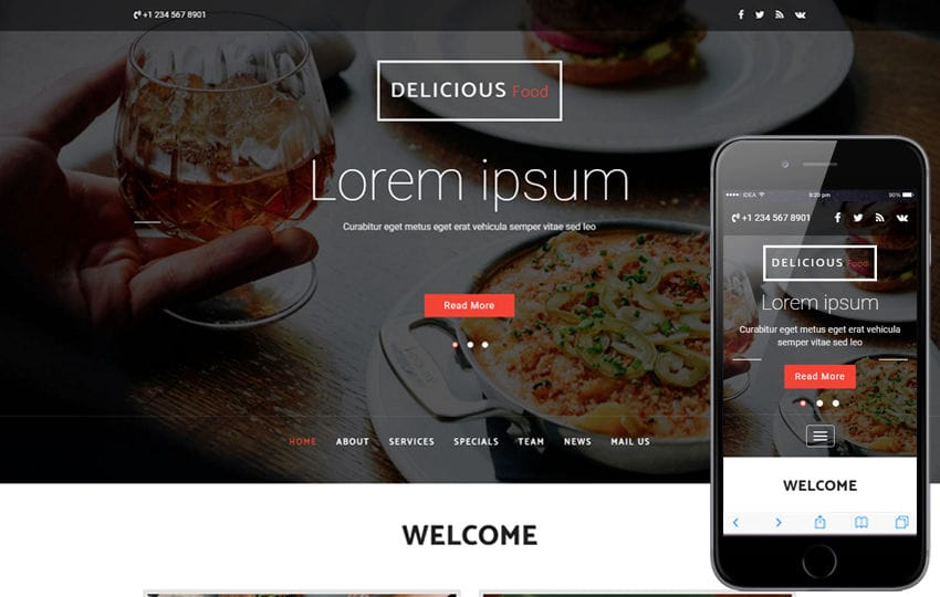 Delicious Food a Hotels Category Bootstrap Responsive Web Template Mobile website template Free