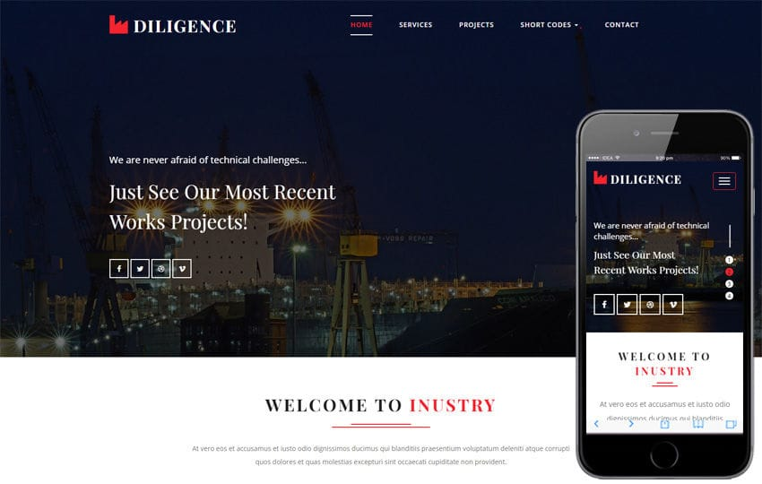 Diligence an Industrial Category Bootstrap Responsive Web Template Mobile website template Free