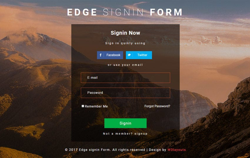 Edge Sign In Form Flat Responsive Widget Template Mobile Website Free