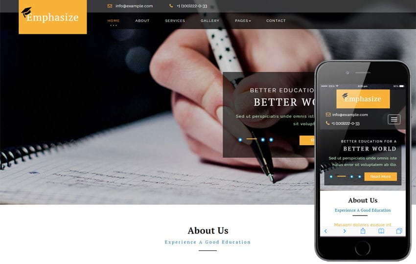 Emphasize an Education Category Bootstrap Responsive Web Template Mobile website template Free