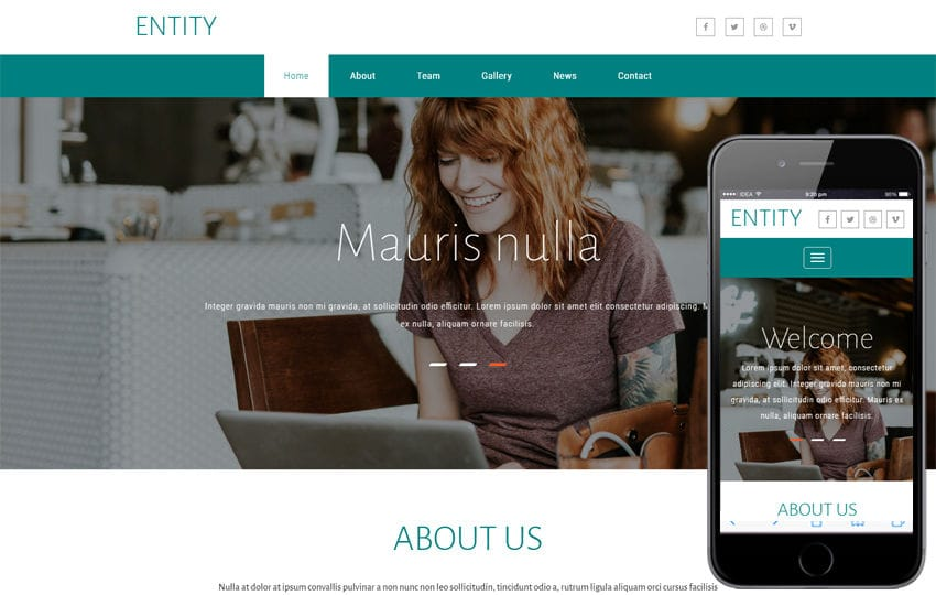 Entity a Corporate Category Bootstrap Responsive Web Template Mobile website template Free