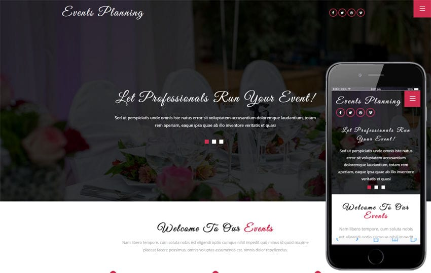 Events Planning a Wedding Category Bootstrap Responsive Web Template Mobile website template Free
