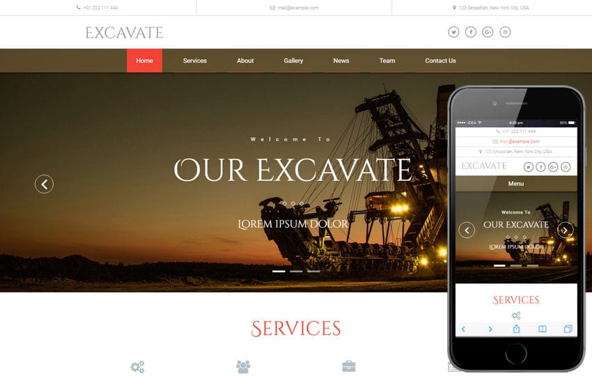 Excavate an Industrial Category Bootstrap Responsive Web Template Mobile website template Free