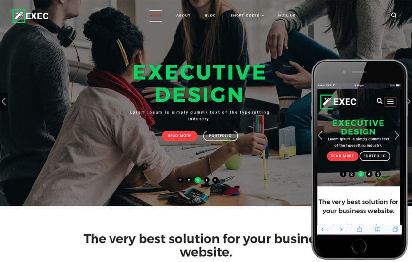 Exec a Corporate Category Bootstrap Responsive Web Template Mobile website template Free