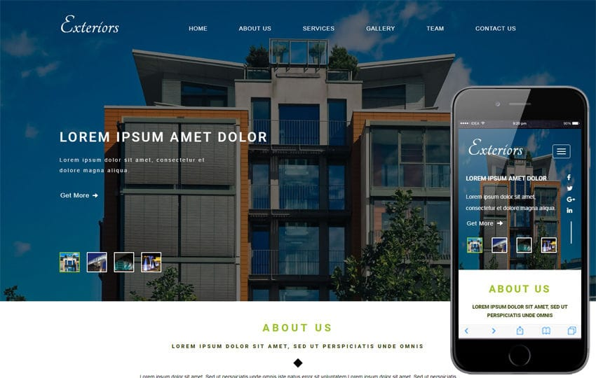 Exteriors an Exterior Category Bootstrap Responsive Web Template