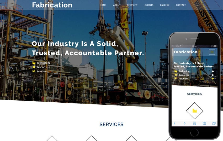 Fabrication an Industrial Category Bootstrap Responsive Web Template Mobile website template Free