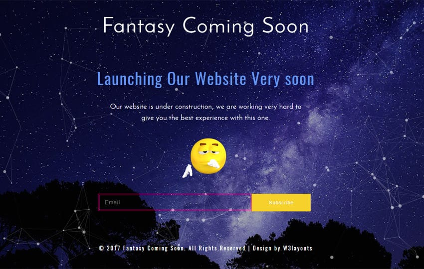 Fantasy Coming Soon Responsive Widget Template Mobile website template Free