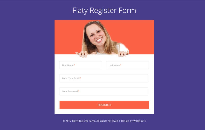 Flaty Register Form a Flat Responsive Widget Template Mobile website template Free