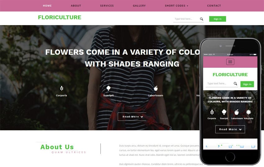 Floriculture an Agriculture Category Flat Bootstrap Responsive Web Template Mobile website template Free