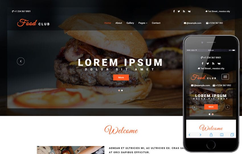 Food Club a Hotels and Restaurants Category Bootstrap Responsive Web Template Mobile website template Free