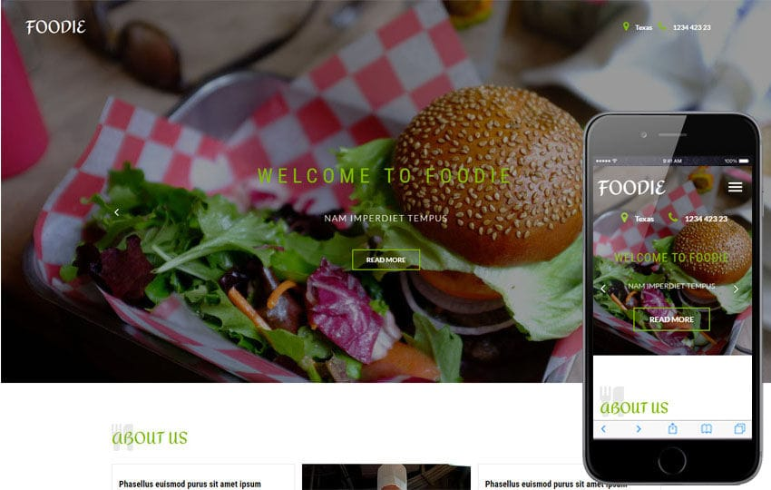 Foodie a Restaurant Category Bootstrap Responsive Web Template Mobile website template Free