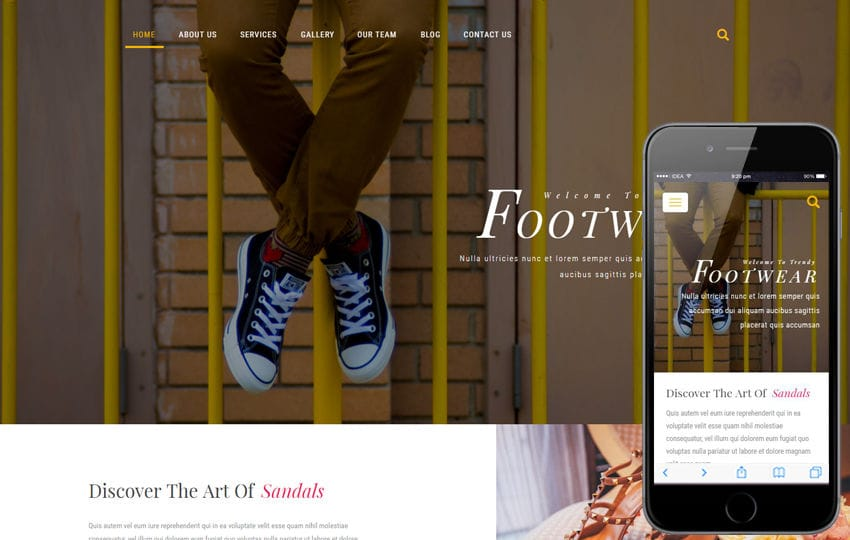 Footwear a Fashion Category Bootstrap Responsive Web Template Mobile website template Free