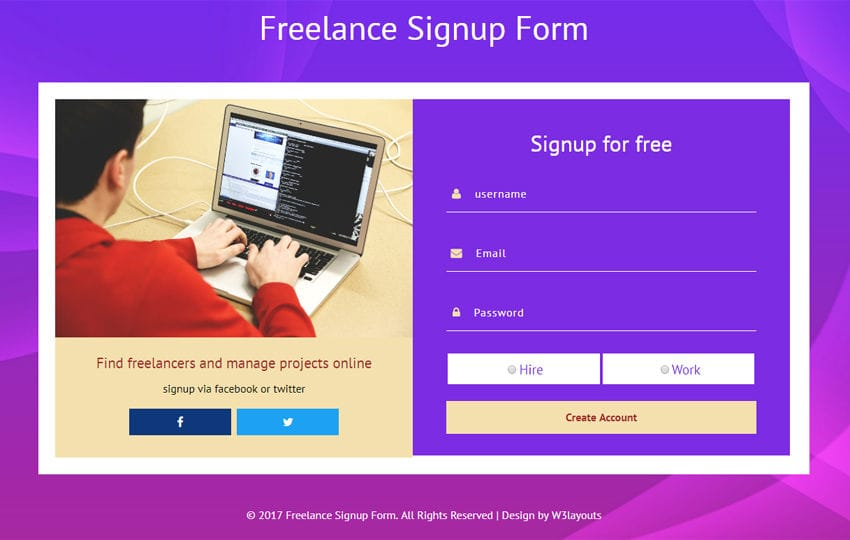 Freelance Signup Form Flat Responsive Widget Template Mobile website template Free