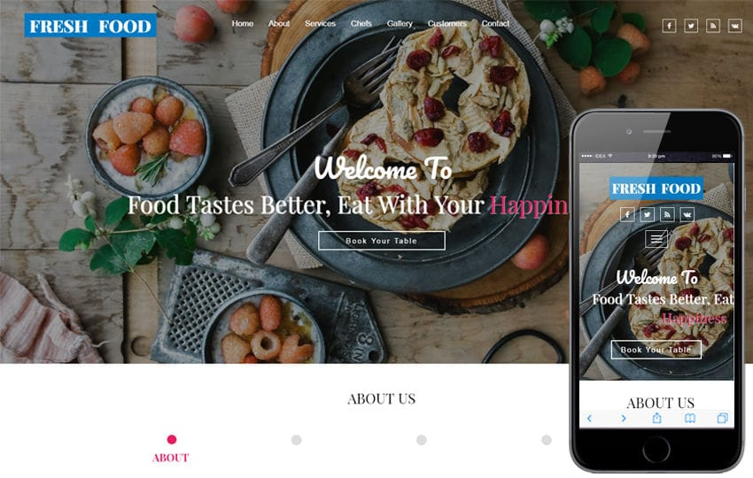 Fresh Food a Restaurants Category Bootstrap Responsive Web Template Mobile website template Free