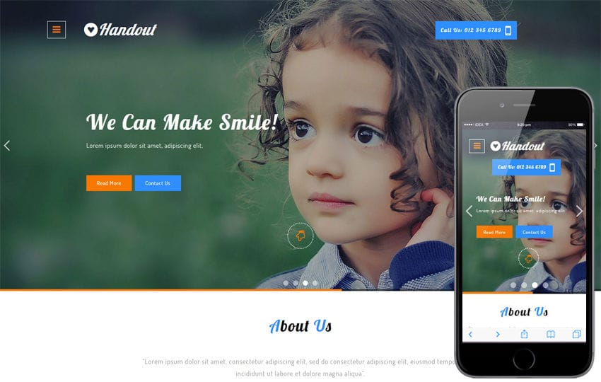 Handout a Charity Category Bootstrap Responsive Web Template Mobile website template Free
