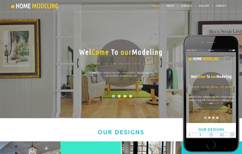 Home Modeling an Interior Category Bootstrap Responsive Web Template Mobile website template Free