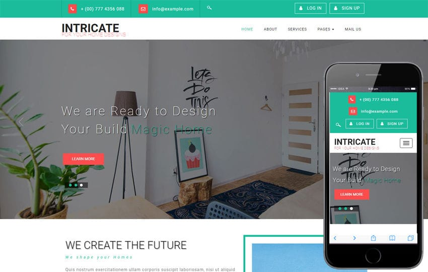 Intricate an Interior Category Bootstrap Responsive Web Template Mobile website template Free