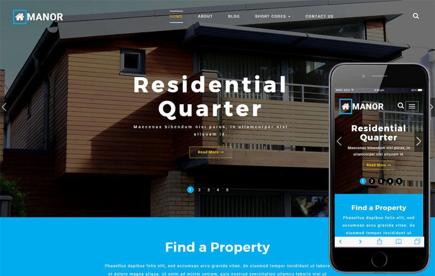 Manor a Real Estate Category Bootstrap Responsive Web Template Mobile website template Free