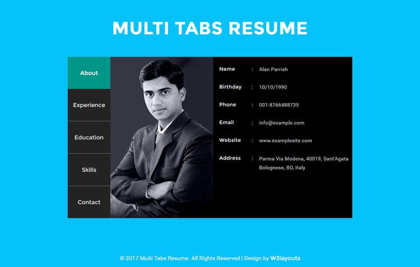 Multi Tabs Resume Widget a Flat Responsive Widget Template Mobile website template Free