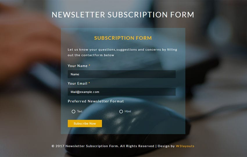 Newsletter Subscription Form Flat Responsive Widget Template Mobile website template Free