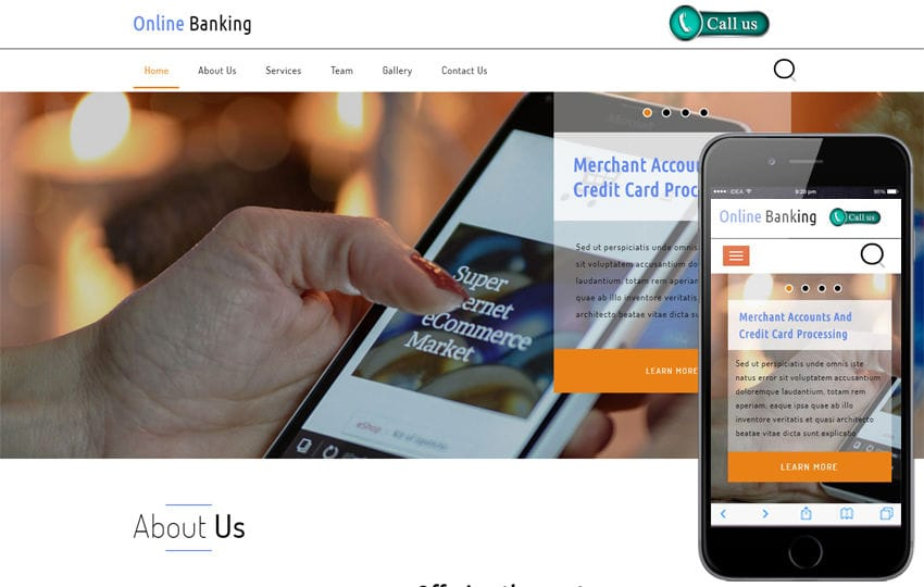 Online Banking a Banking Category Bootstrap Responsive Web Template Mobile website template Free