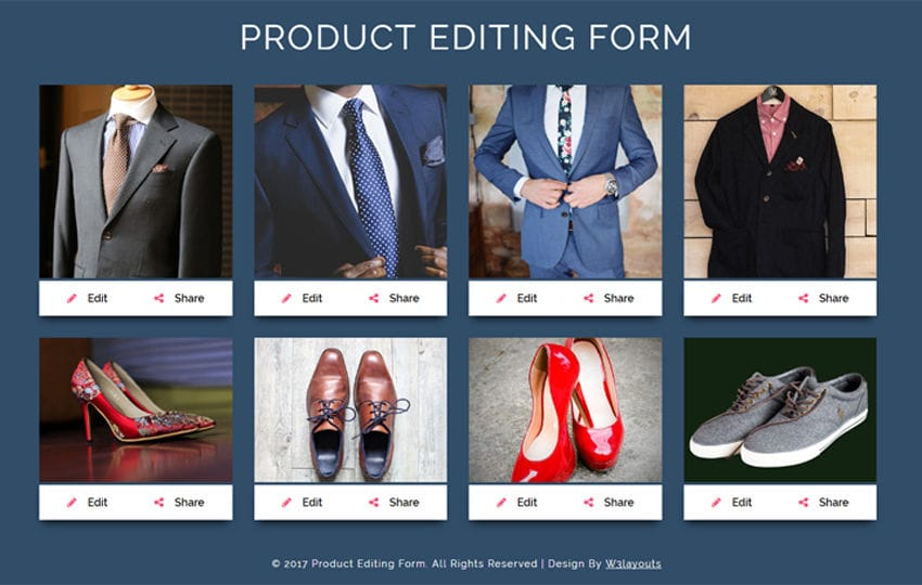 Product Editing Form a Flat Responsive Widget Template Mobile website template Free