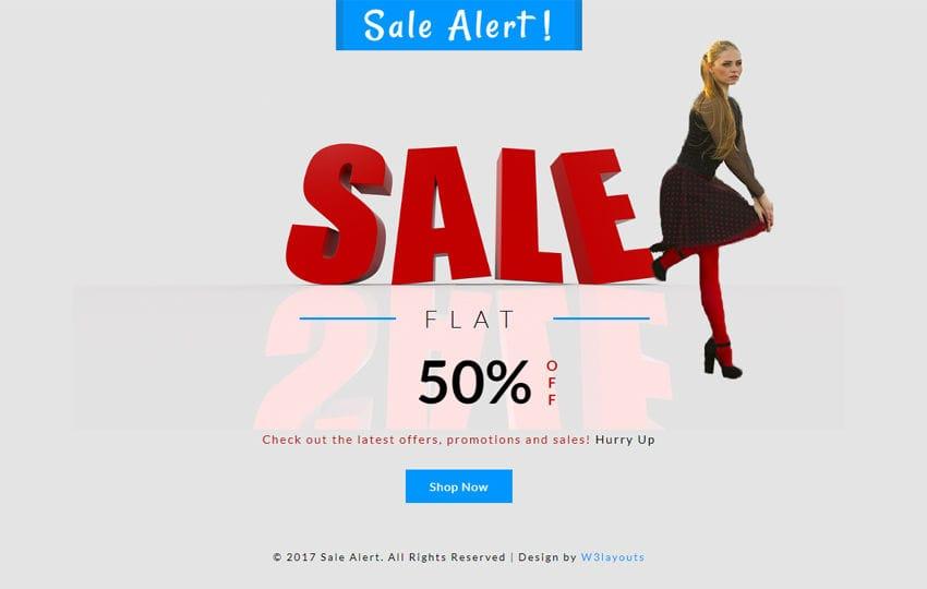 Sale Alert a Flat Responsive Widget Template Mobile website template Free