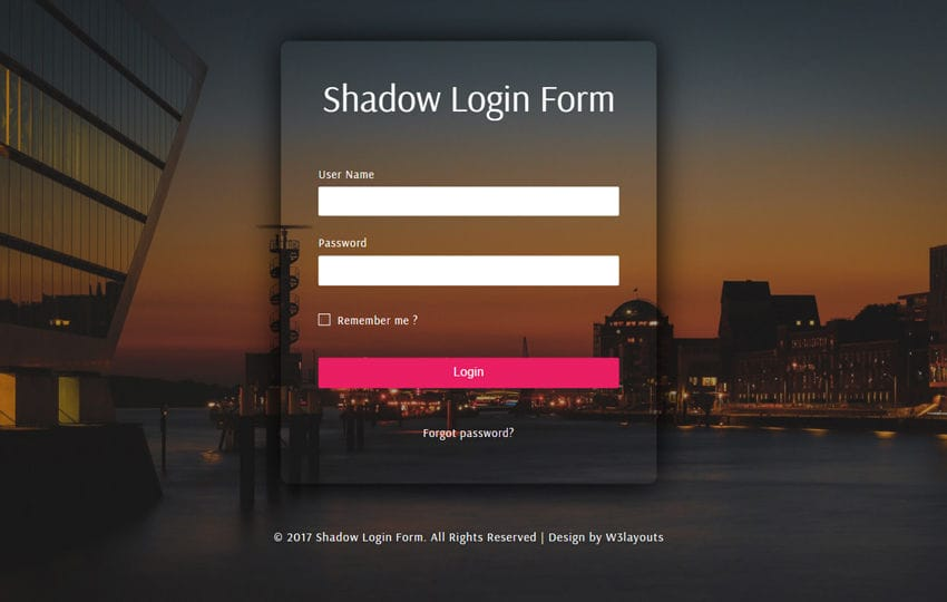 Shadow Login Form a Flat Responsive Widget Template Mobile website template Free