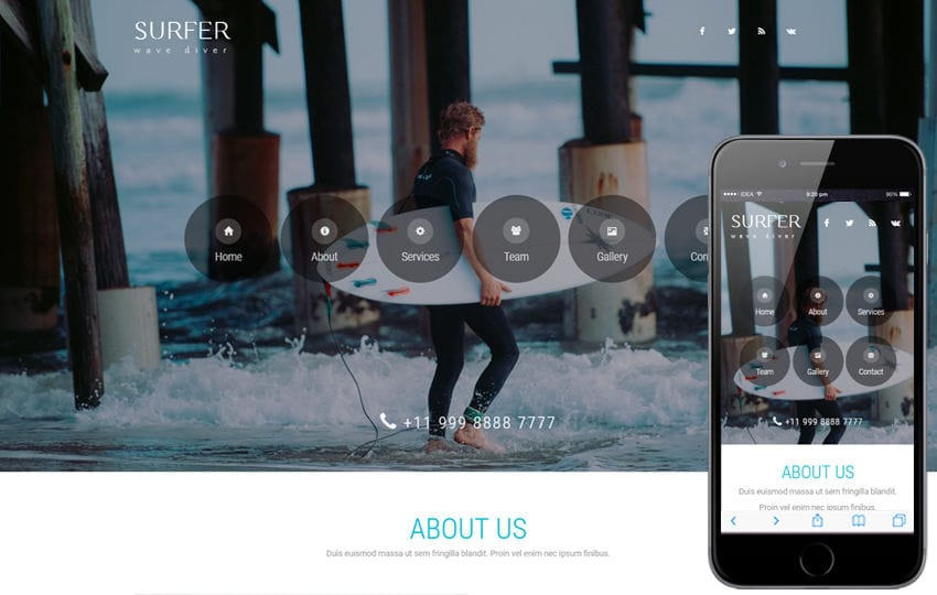 Surfer a Sports Category Bootstrap Responsive Web Template Mobile website template Free