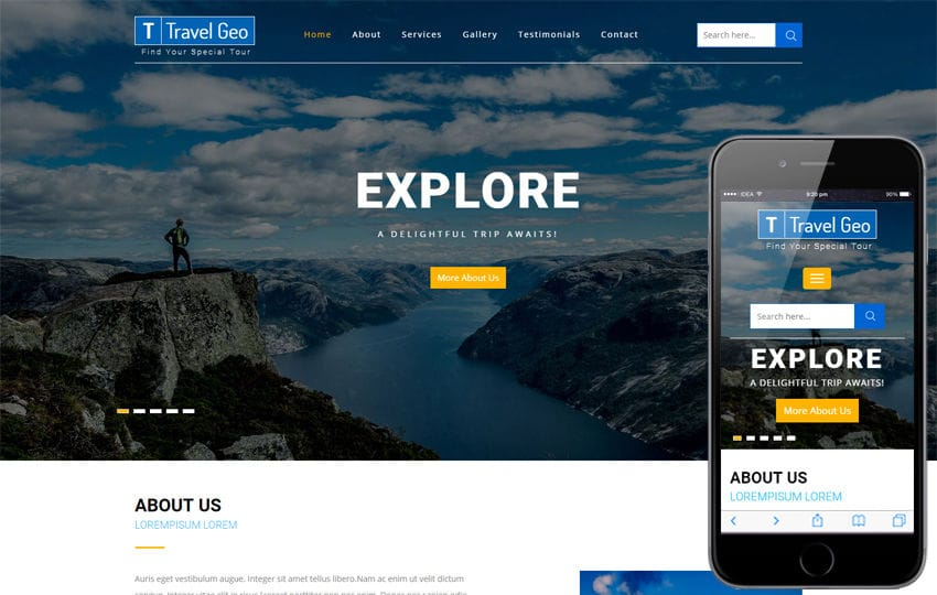 Travel Geo a Travel Category Bootstrap Responsive Web Template Mobile website template Free