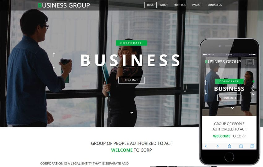 Business Group a Corporate Category Bootstrap Responsive Web Template Mobile website template Free