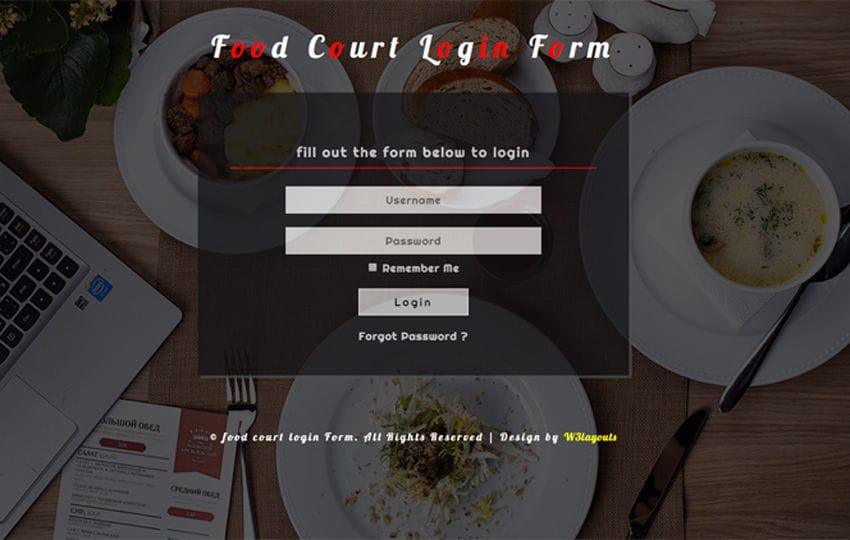 Food Court Login Form a Responsive Widget Template Mobile website template Free