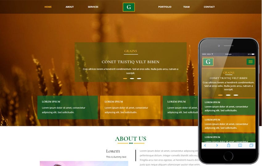 Grains an Agriculture Category Bootstrap Responsive Web Template Mobile website template Free