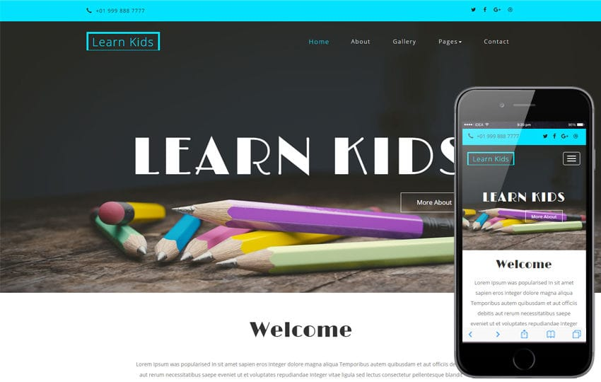 Learn Kids an Education School Category Bootstrap Responsive Web Template Mobile website template Free