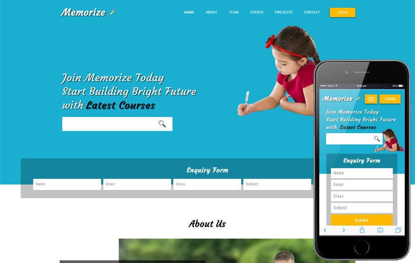 Memorize an Educational Category Bootstrap Responsive Web Template Mobile website template Free