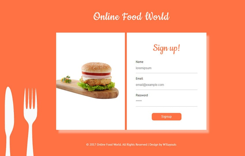 Online Food World Flat Responsive Widget Template Mobile website template Free