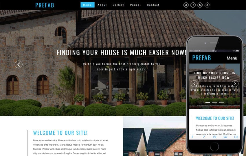 Prefab a Real Estate Category Bootstrap Responsive Web Template Mobile website template Free