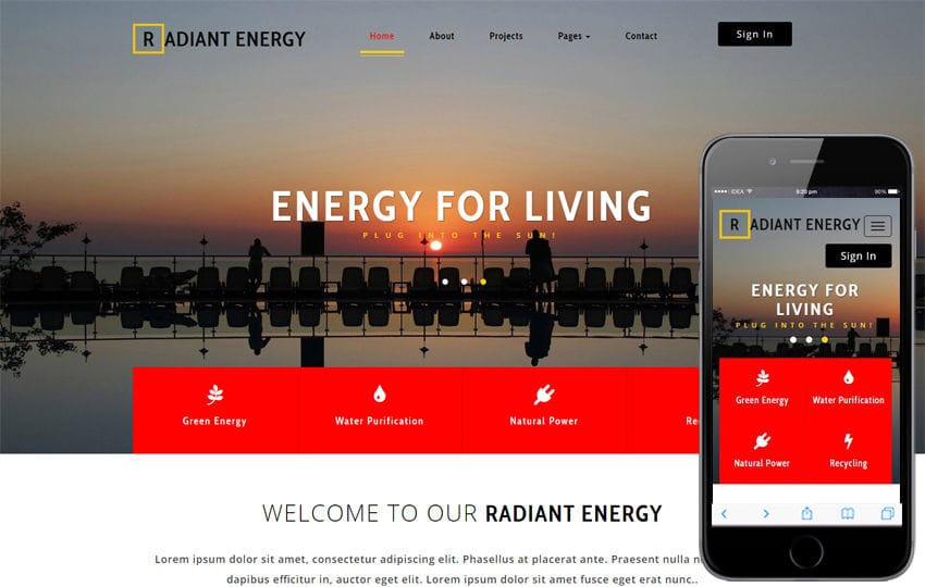 Radiant Energy an Industrial Category Bootstrap Responsive Web Template Mobile website template Free