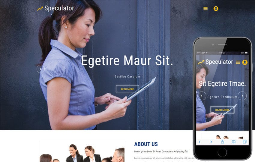 Speculator a Business Category Bootstrap Responsive Web Template Mobile website template Free