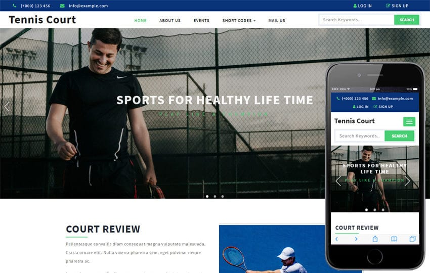 Tennis Court a Sports Category Flat Bootstrap Responsive Web Template Mobile website template Free