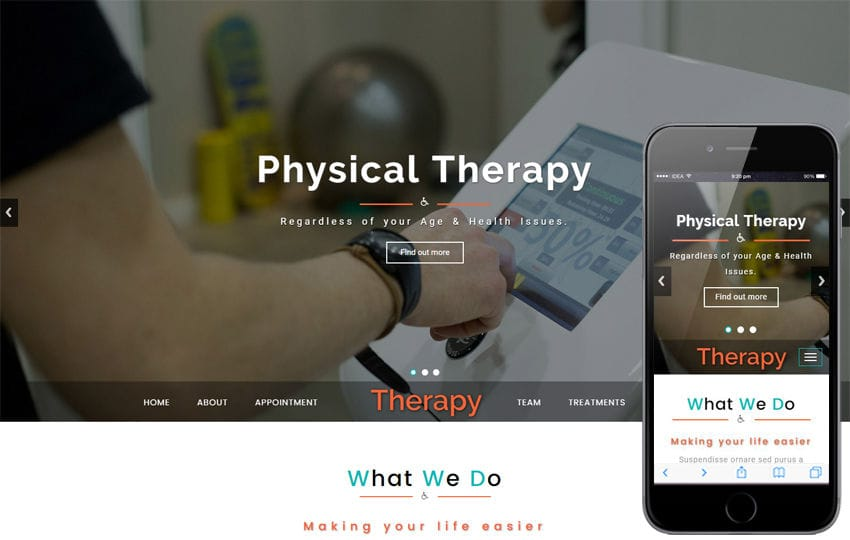 Therapy a Medical Category Bootstrap Responsive Web Template Mobile website template Free