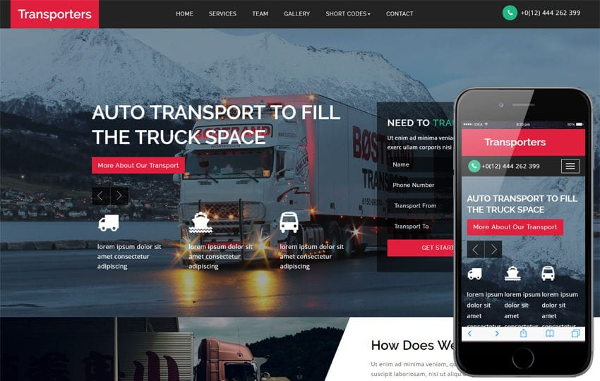 Transporters a Transportation Category Bootstrap Responsive Web Template Mobile website template Free