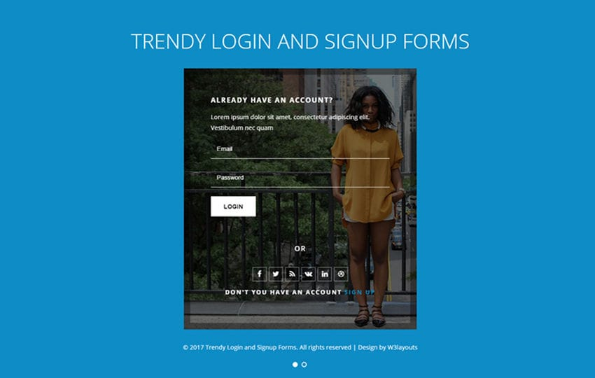 Trendy Login and Signup Forms Responsive Widget Template Mobile website template Free